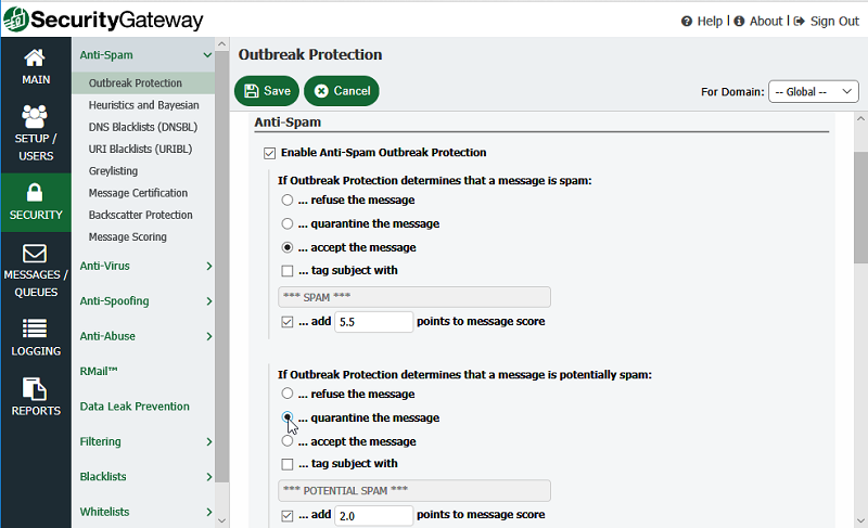Spam filter and antivirus settings in Security Gateway for Email