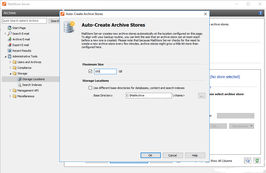 Automatic email archive creation in MailStore