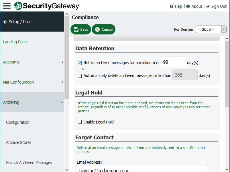 Screen shot of Security Gateway's Data Retention options with check boxes and date fields to enable that feature