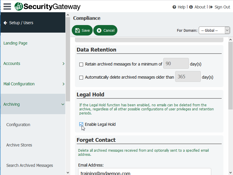 Screen shot of Security Gateway's Legal Hold feature with check box to enable that feature