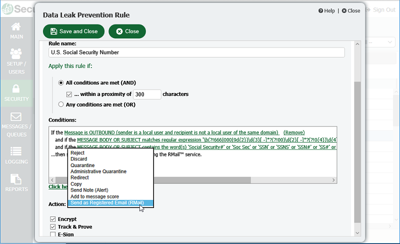 Data Leak Prevention in Security Gateway for Email