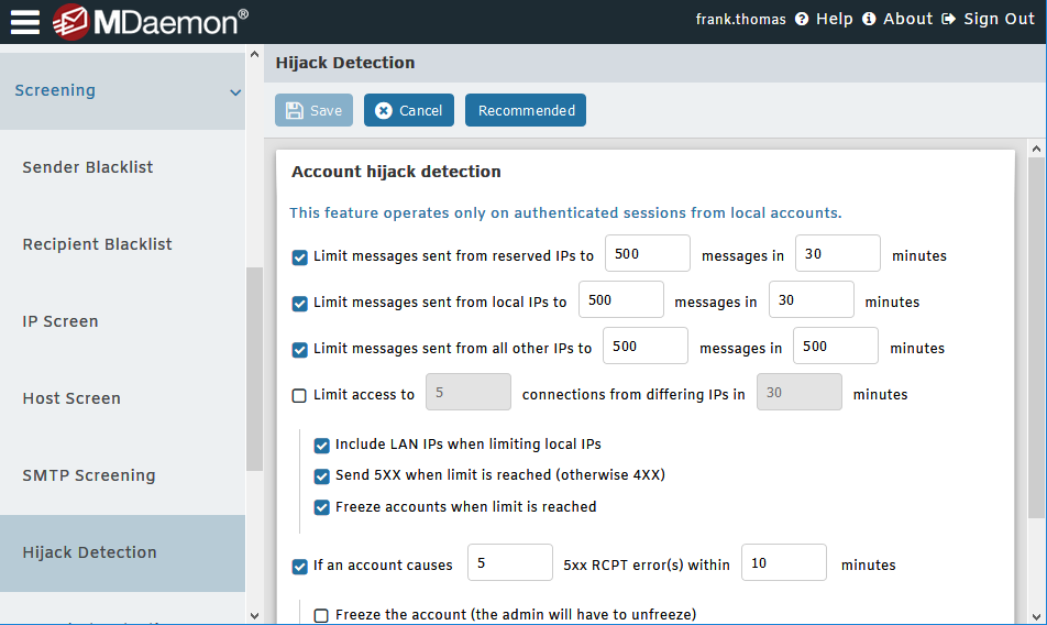 Account Hijack Detection in MDaemon Remote Administration