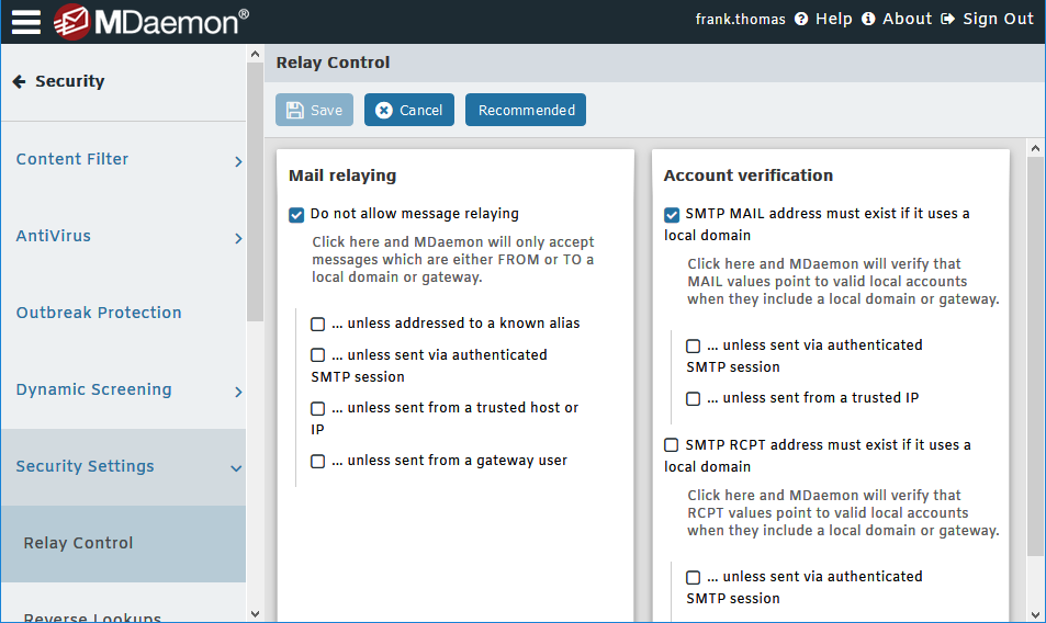 Relay Control Settings in MDaemon Email Server