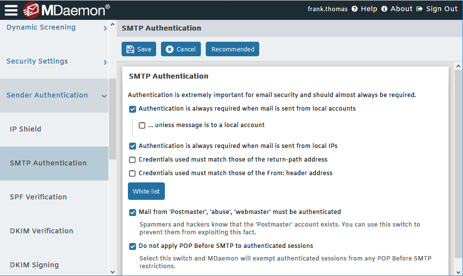 SMTP Authentication Settings in MDaemon Remote Administration