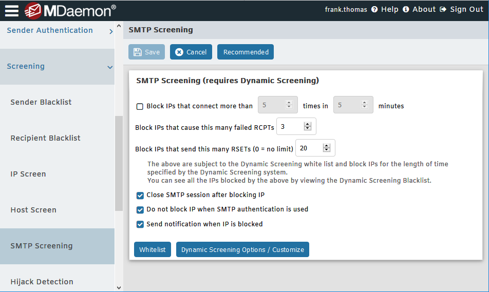 SMTP Screening in MDaemon Remote Administration