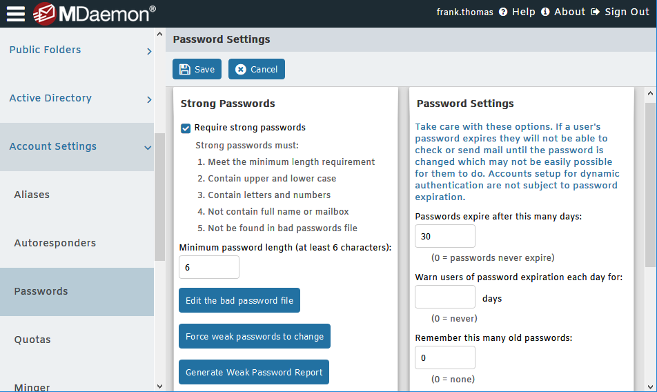 Password Settings in MDaemon Email Server - Remote Administration