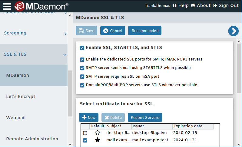 MDaemon Remote Administration - SSL & TLS Settings