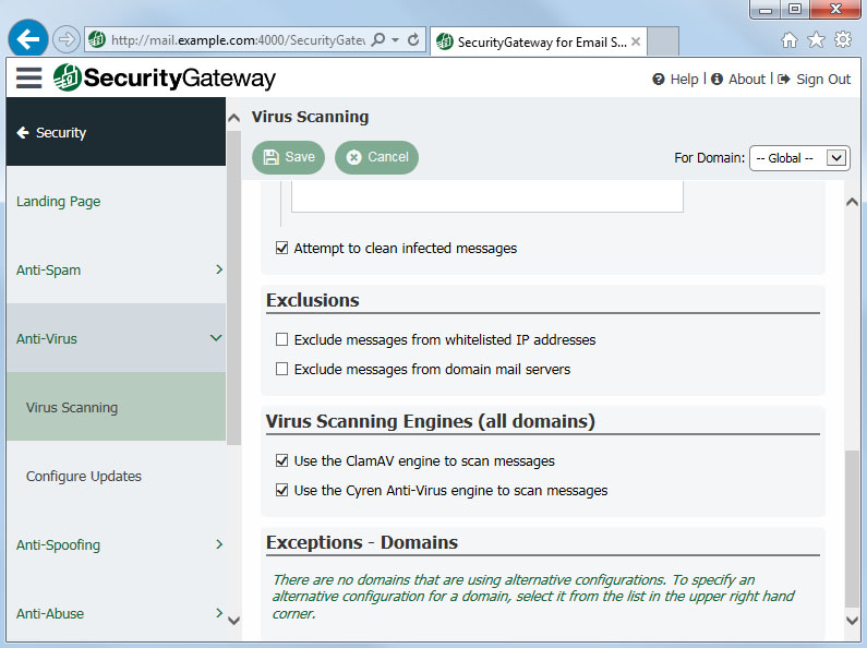 Cyren and ClamAV antivirus engines in Security Gateway for Email Servers
