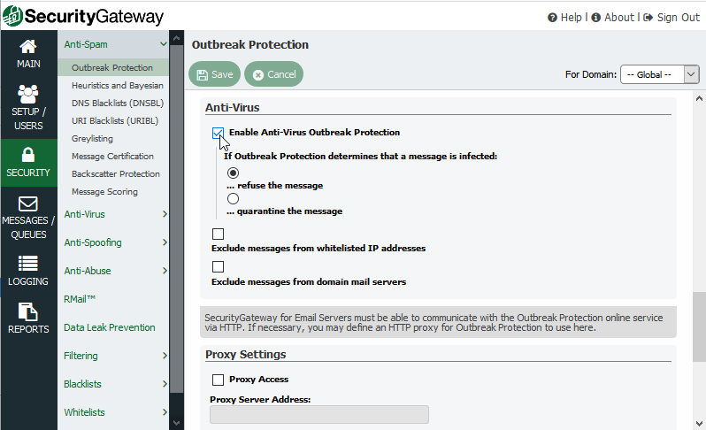 Security Gateway for Email Anti-virus Outbreak Protection
