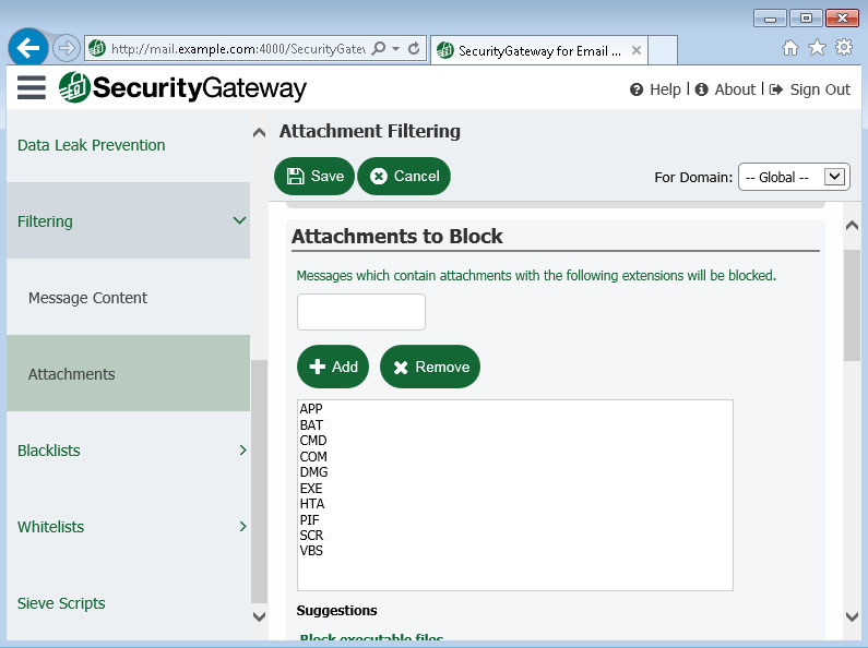 Attachment filtering in Security Gateway for Email