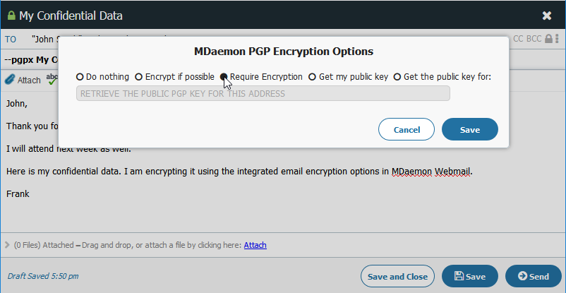 Email Encryption via  message compose window in MDaemon Webmail