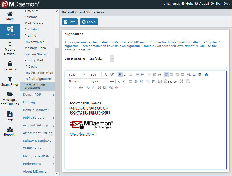 Centralized management of email client signaturs with MDaemon Remote Adminisration