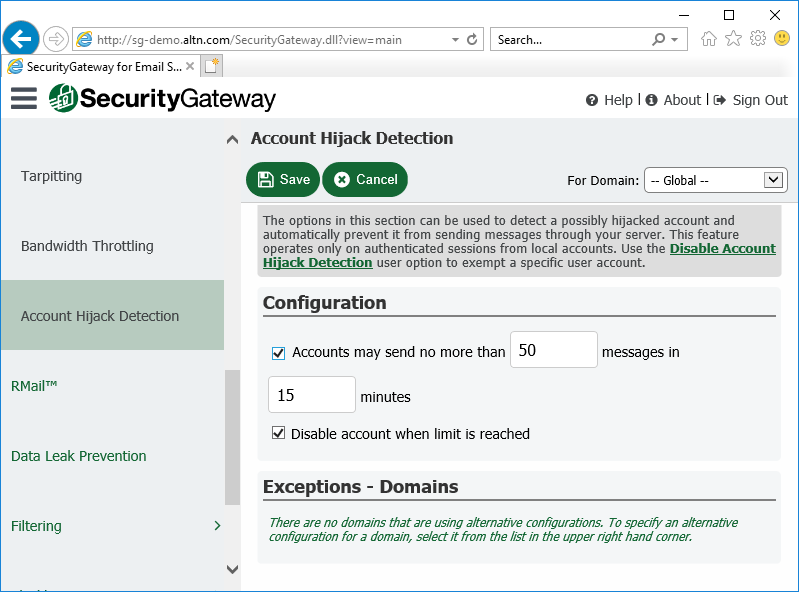 Prevent compromised email accounts from abuse with Account Hijack Detection in Security Gateway for Email Servers