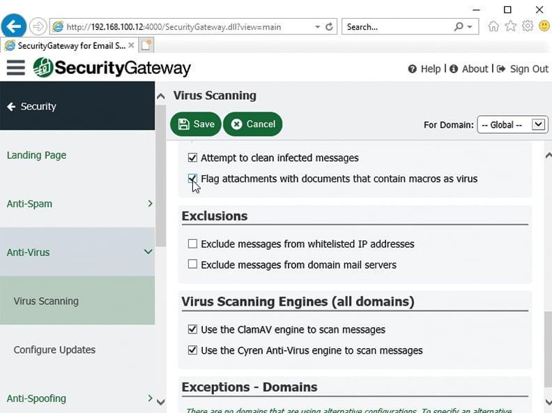 SecurityGateway for Email Servers - Antivirus Flag Macro