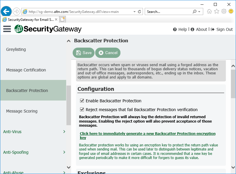 Backscatter Protection Settings in Security Gateway for Email Servers