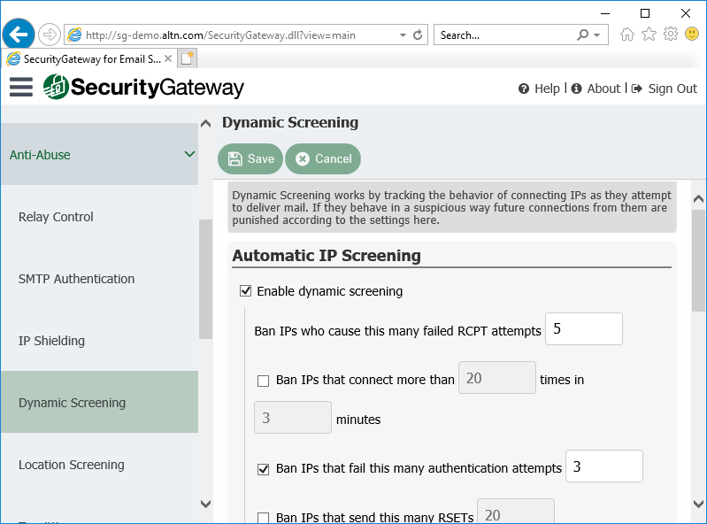 Dynamic Screening Settings in Security Gateway for Email Servers