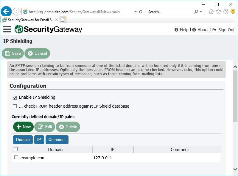 Protect against email spoofing with IP Shielding in Security Gateway for Email Servers