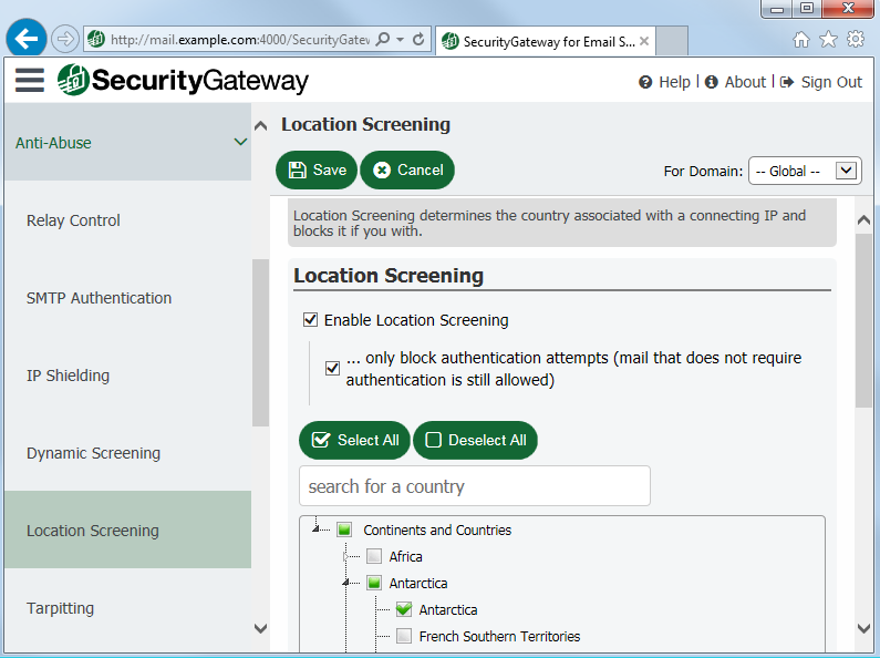 Block email from unauthorized countries with Location Screening in Security Gateway for Email