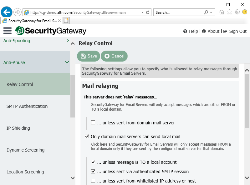 Relay Control Settings in Security Gateway for Email Servers