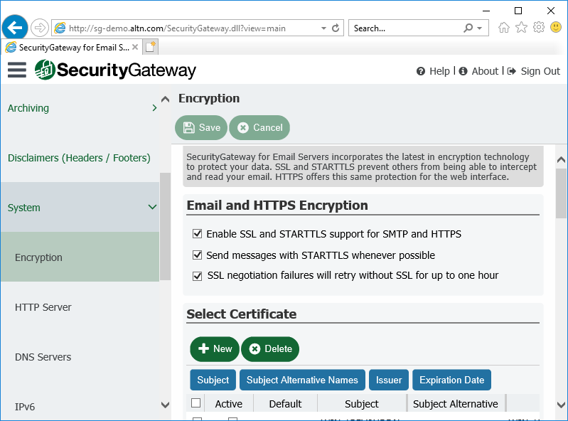 Secure Sockets Layer (SSL) settings in Security Gateway for Email Servers