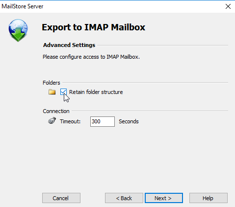 MailStore export profile showing checkbox to retain folder structure