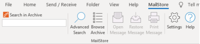 Updated MailStore Outlook Add-in Toolbar