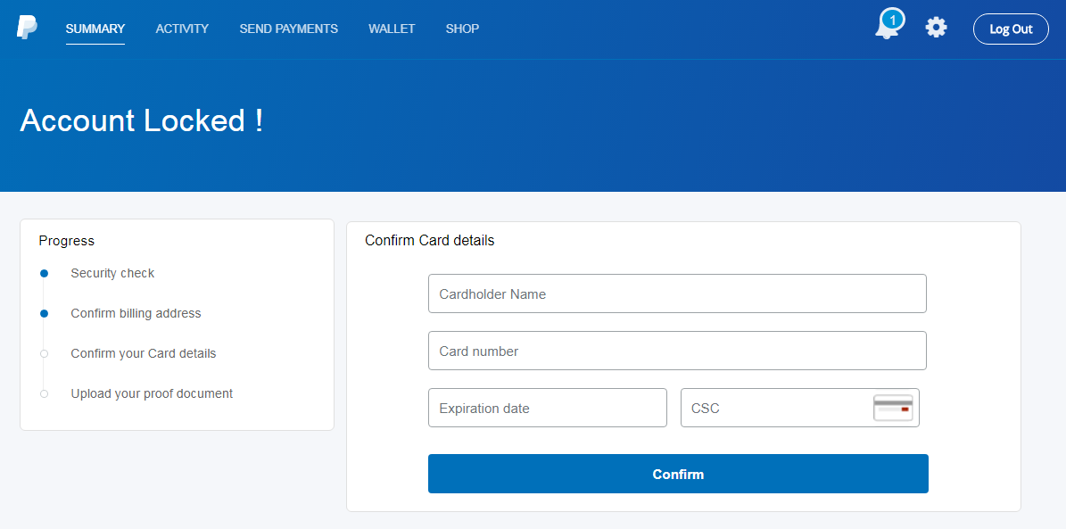 Lookalike PayPal form requesting credit card information
