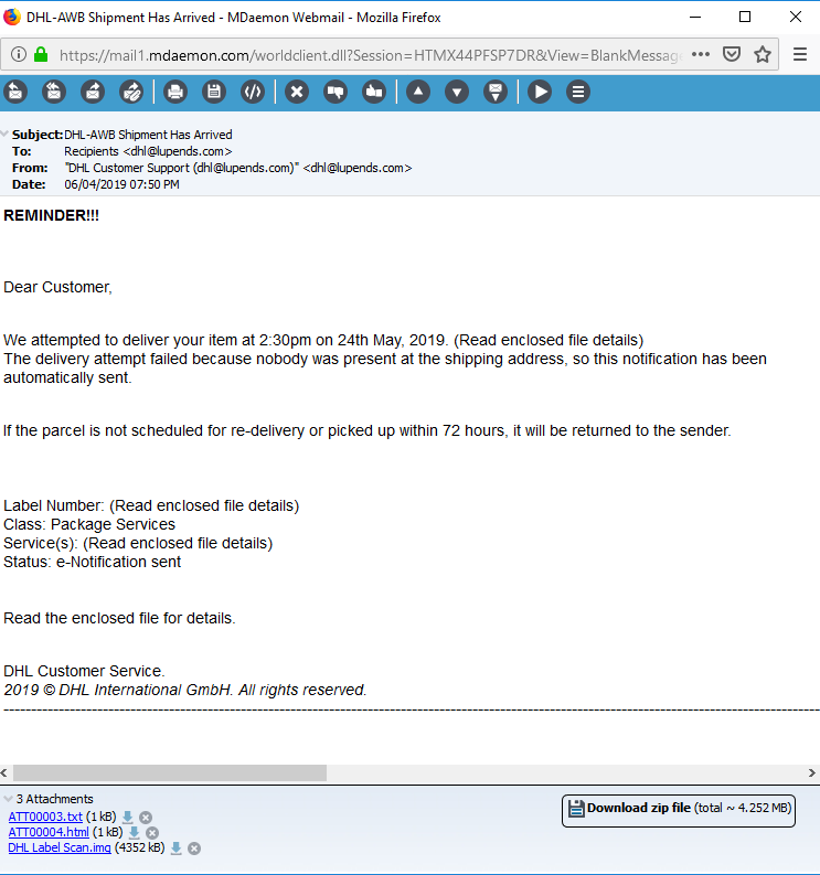 Phishing example, spam email