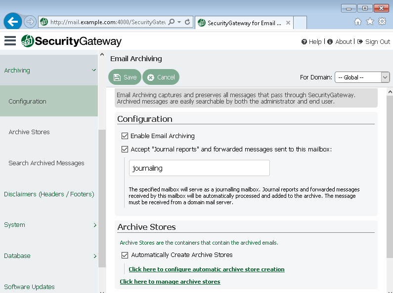 Archiving Features in Security Gateway