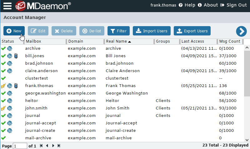 MDaemon Email Server - Account Manager