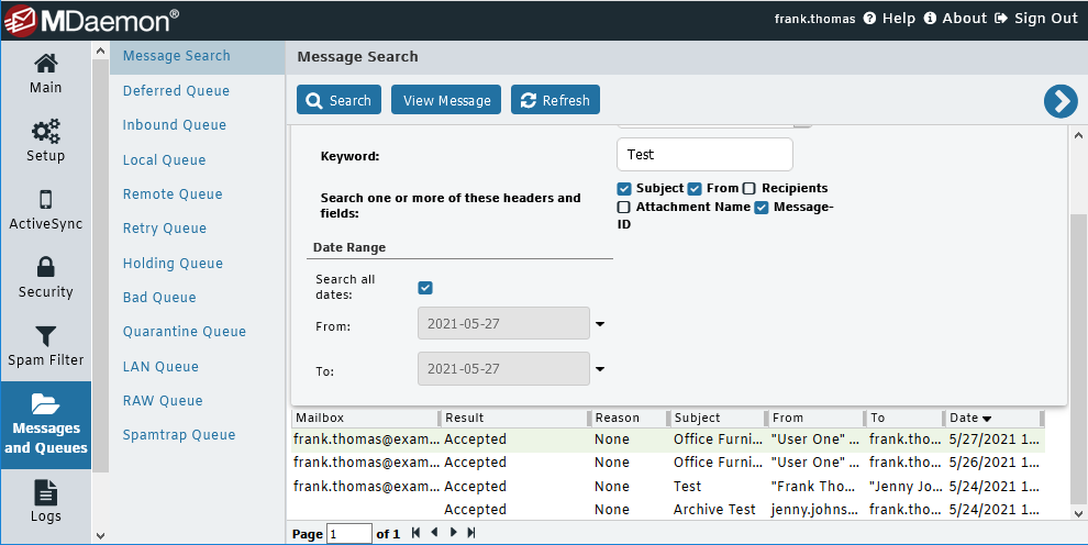 MDaemon Message Search