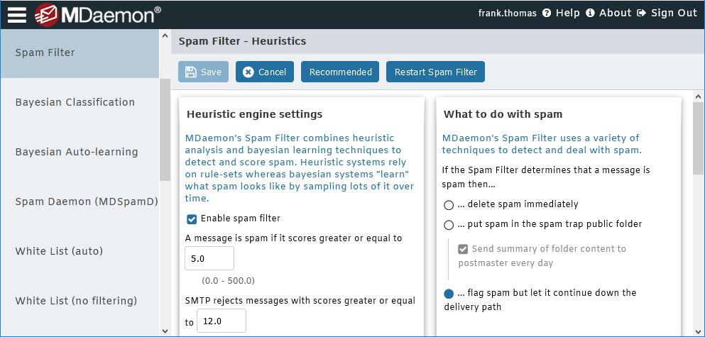 MDaemon Email Server -  Spam Filter Settings