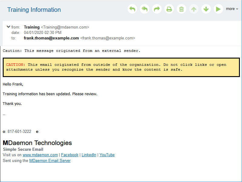 MDaemon Webmail external message warning to help users identify phishing and spoofing email