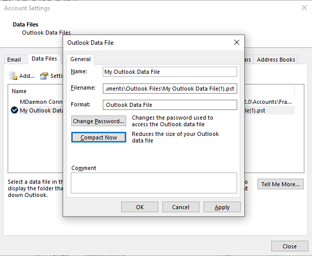 Compacting a PST File in Microsoft Outlook