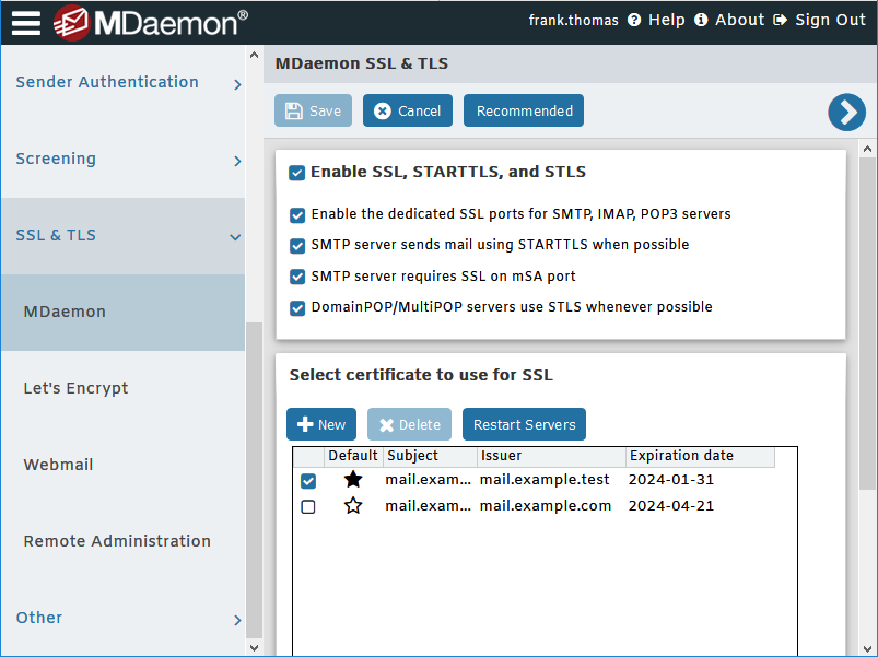 SSL and TLS settings for MDaemon Email Server