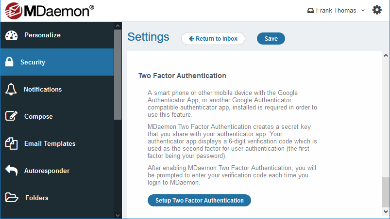 Two-factor authentication in MDaemon Webmail